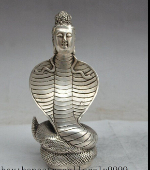 "decoration bronze factory outlets Tibet Silver  7""china chinese folk silver snake god flower Kwan-Yin Bodhisattva goddess statue"