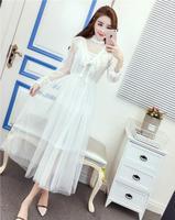 2018 Free Shipping Spring Winter New Temperament Long Section Ladies Dress Women Work Wear Fashion White
