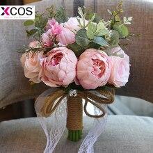 In Stock Pink Wedding Flower Bridal Bouquets 2018 Romantic Brooch Bouquets For Bridesmaids Brides Ramos De Novia