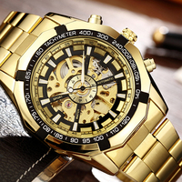 Gold Skeleton Automatic Watch Winner Mechanical Men Wristwatch Stainless Steel Bracelet Luxury Men Watch Bayan Kol
