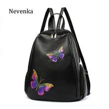 Nevenka Новый Для женщин мода рюкзак женский Высокое качество Рюкзаки девушка Дизайн бабочки мода сумка женская Сумки на плечо