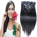 """7а малайзии виргинский волосы прямые клип в человеческих волос 7 / 10 шт. реми ролик в прямой наращивание волос 160 г 200 г 16 """" - 26 """""""