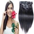 """7A malásia virgem cabelo liso grampo em extensões de cabelo humano 7 / 10 Pcs Remy grampo em extensões do cabelo reto 160 g 200 g 16 """" - 26 """""""