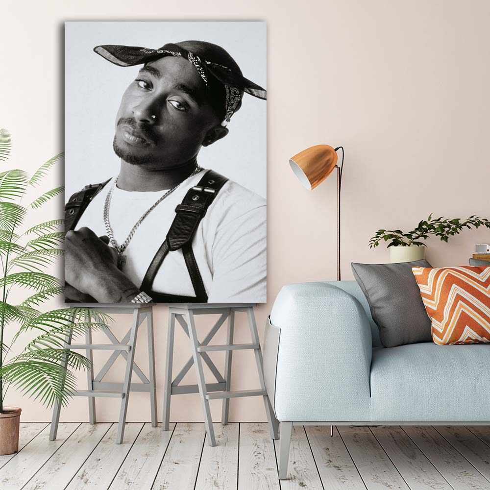 Black and white tupac shakur pictures wall picture canvas art poster and print stretched frame artwork