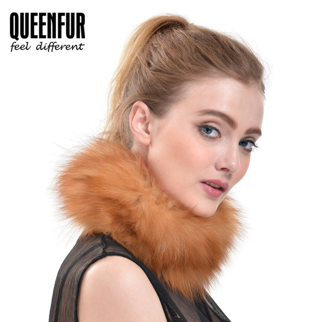 QUEENFUR 2016 New Real Knitted Fox Fur Scarf Winter Warm Genuine Fox Fur Ring Scarves Fashion Girls Natural Fur Scarf Hot Sales