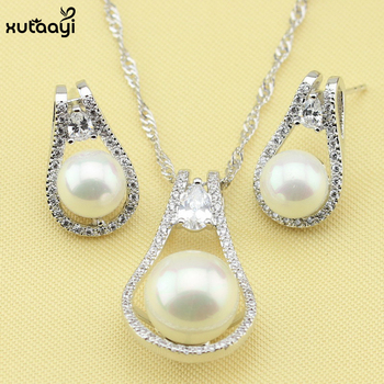 XUTAAYI Imitation Pearl Jewelry Sets, Stunning White Crystal Sterling Silver Overlay Earrings and Necklace For Women