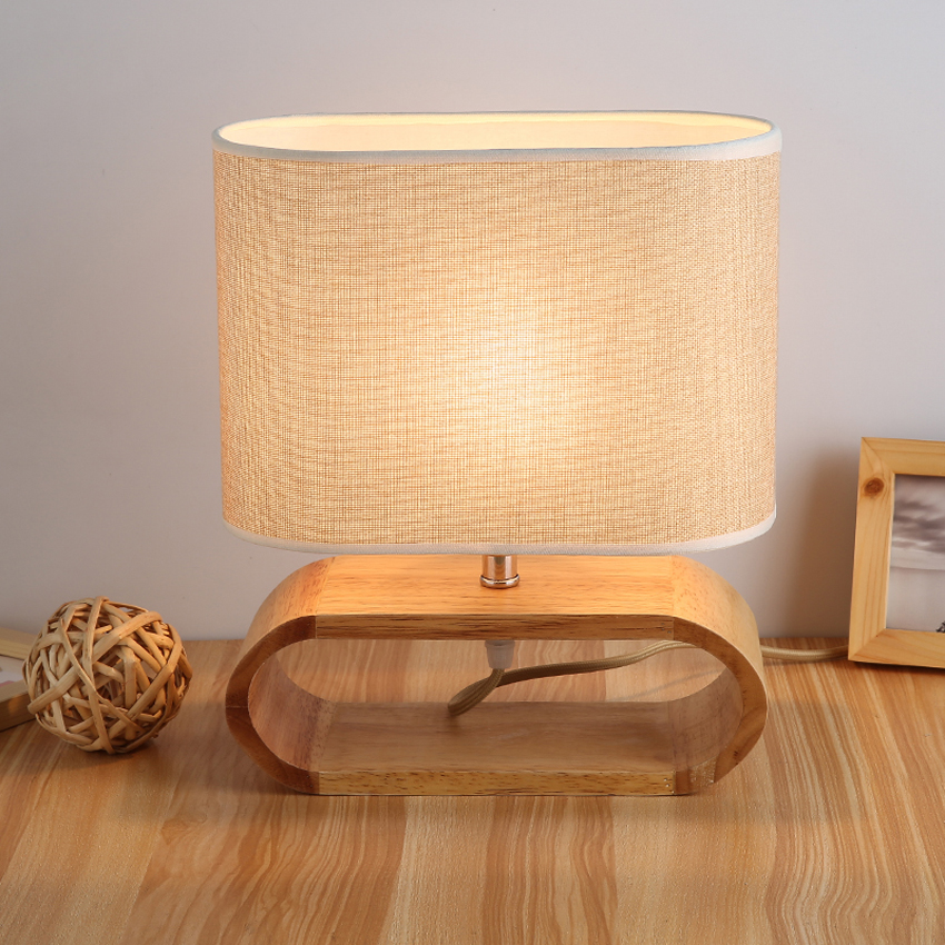 Modern table lamp wood base cloth lampshade table lamps for living ...