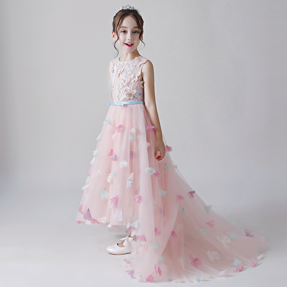 Butterfly   Flower     Girl     Dresses   Pageant Evening Gowns 2018 Long   Dress   First Communion Prom Party Gowns