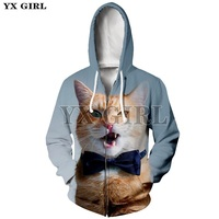 YX Girl Womens 3D Print Cute Cat Zipper Hoodies Casual Hoodie Women Lovely Cat Printing Sweatshirt Zip Up Jacket Dropshipping