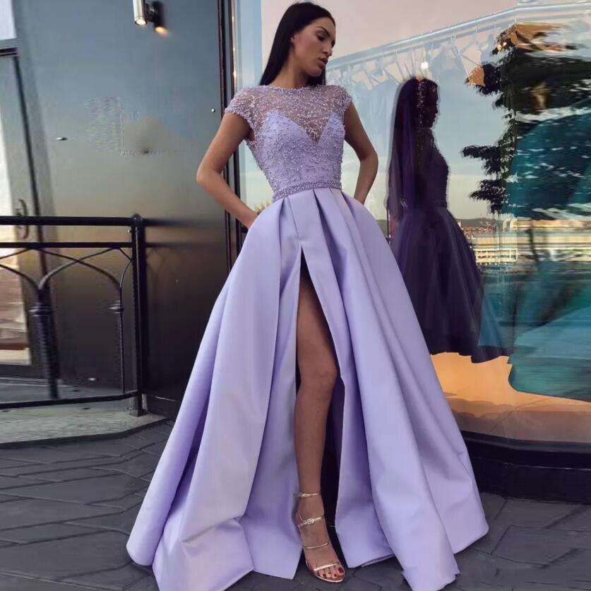 Perlé Sexy Parti Assez Poches Lady Side Perles Lavande De Abendkleider Split High Cristal Robes 2018 Formelle Bal Port Avec ZAqdAv