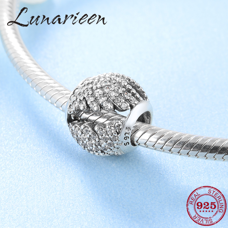 New 925 Sterling Silver Valentine's Day Wings zircon charm lady silver beads Fit Original Pandora Charm Bracelet Jewelry making