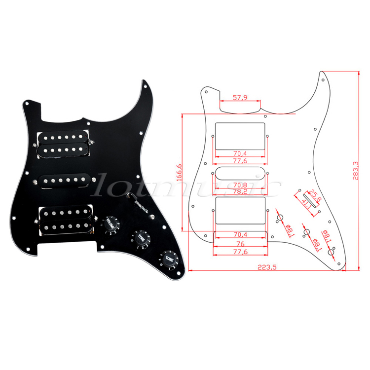 2 Set HSH Loaded Pickguard Black Wired Plate For Fender Strat Guitar replacement
