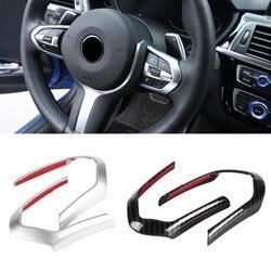 2pcs ABS Chrom /Carbon Fiber Car Steering Wheel Decoration Cover Trim Frame for BMW F20 F22 F30 F32 F10 F06 F15 F16 M-Sport