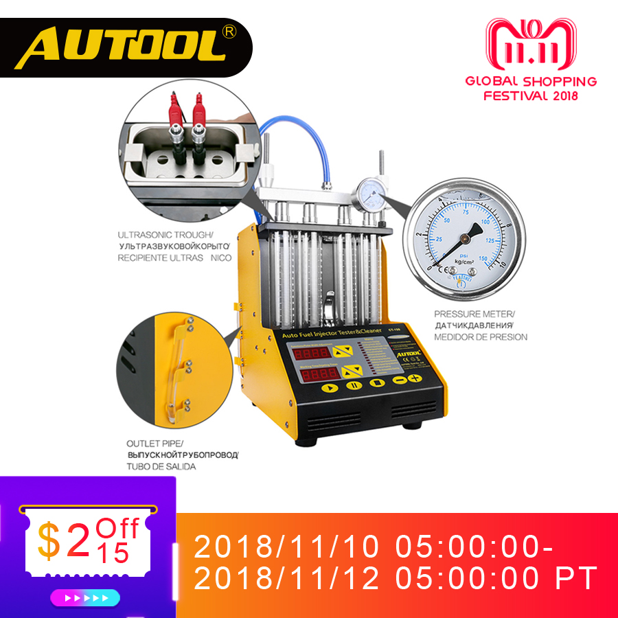 цена на AUTOOL CT150 Car Injector Tester Ultrasonic Cleaning Auto Fuel Injectors Cleaner For Vehicle Repair 4 Cylinder Diagnostic Tool
