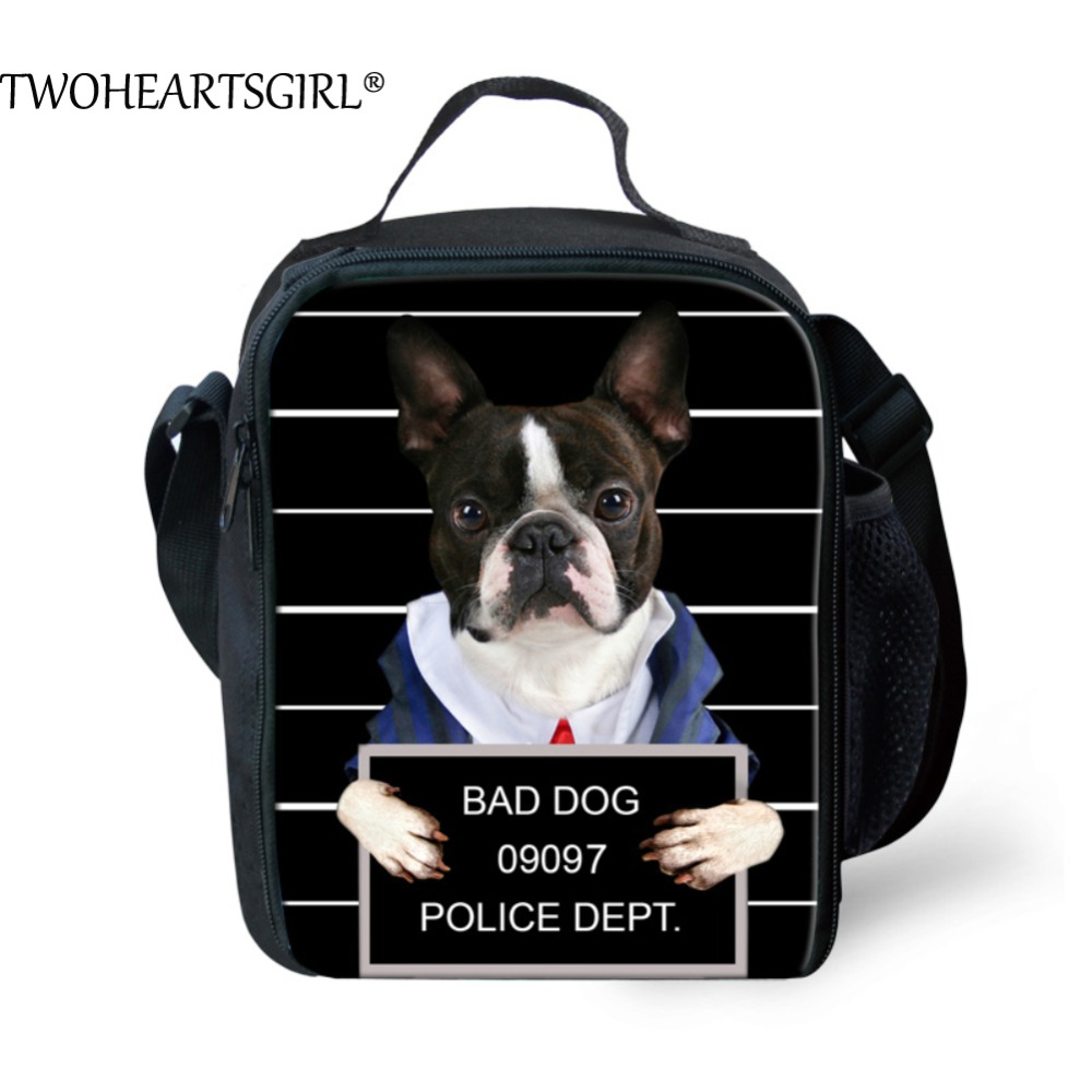 TWOHEARTSGIRL Cute Pug Dog Prints Thermal Insulated Picnic Lunch Bag for Office Women Kids Portable Storage Food Lunch Box Tote