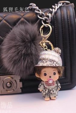Cap Monchichi Key Chain Sleutelhanger Strass Keychain Keyring Fluffy Fox Fur Ball Pom Pom Women Bag Charm Porte Clef M107