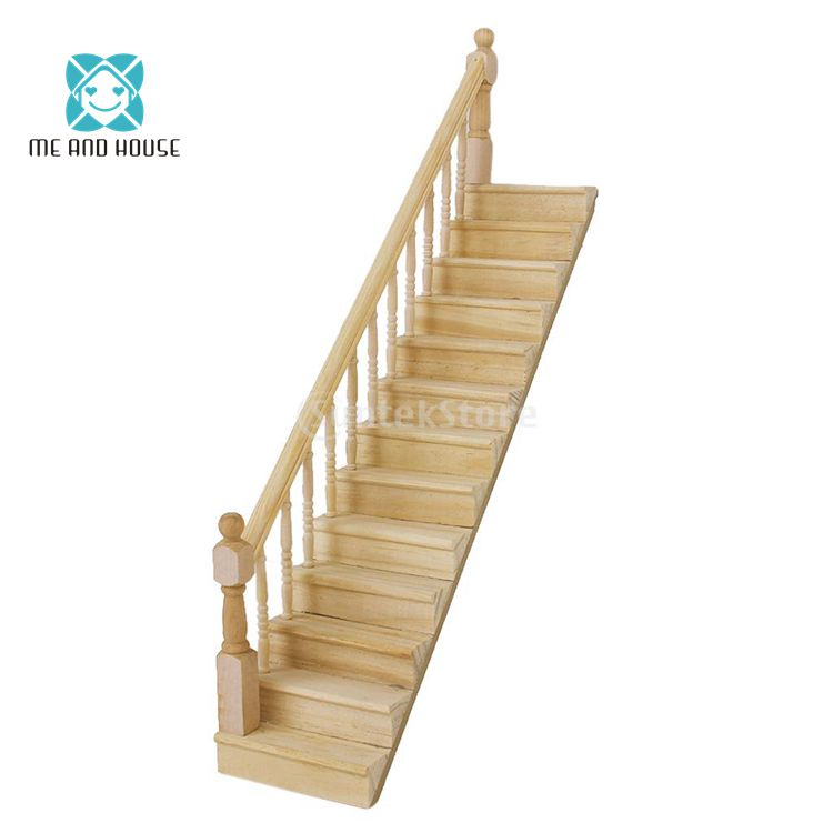 Stupendous Doll House Wooden Stairs Dollhouse Miniature Furniture Wood Escalator 1 12 Scale Download Free Architecture Designs Scobabritishbridgeorg