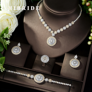 HIBRIDE Hot-sale African 4pcs Bridal Jewelry Sets New Fashion Dubai Jewelry Set for Women Wedding Party Accessories Design N-974