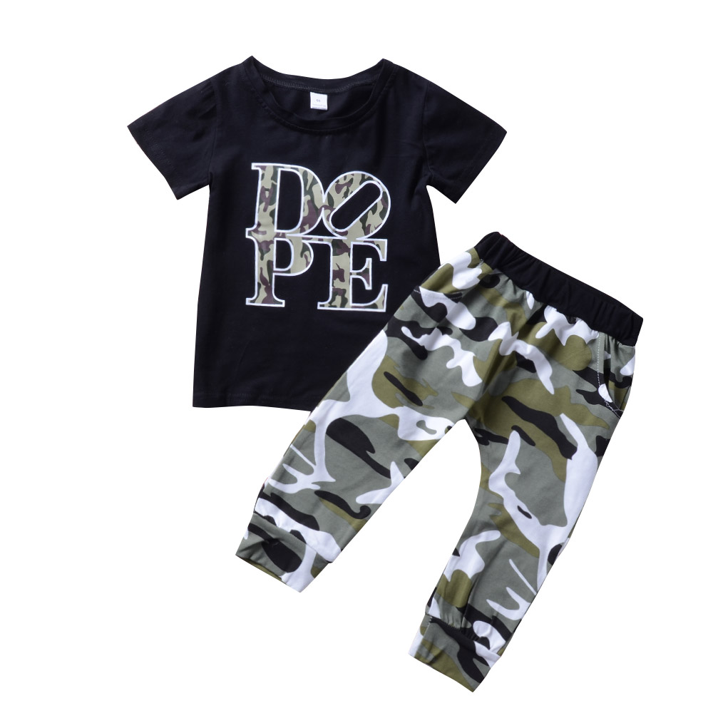 2PCS Newborn Toddler Baby Boy Tops T-shirt+Camouflage Shorts Pants Clothes Suit