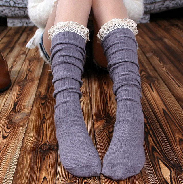 Hot sale Women Crochet Lace Trim Cotton Knitted Leg Warmers Boot  Knee High Stockings