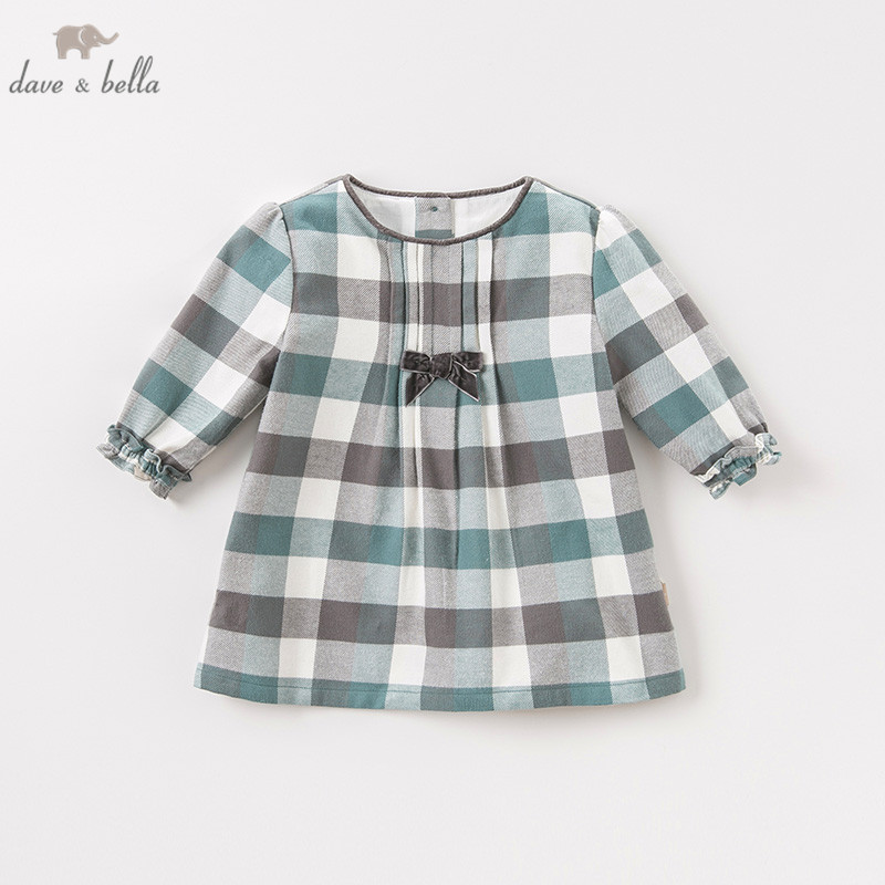 DB8711-2 Dave Bella Autumn Infant Baby Girl's Fashion Plaid Dress Kids Birthday Party Dress Toddler Children Clothes