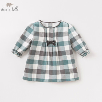 DB8711-2 dave bella autumn infant baby girl's fashion plaid dress kids birthday party dress toddler children clothes image