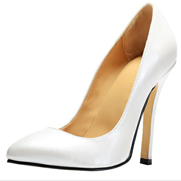 Women Pumps 2016 Plus Size Simple Ladies Party Shoes White Fashion Real Image With High Thin Heels Pointed Toe Ladies Shoes meotina high heels shoes women pumps party shoes fashion thick high heels pointed toe flock ladies shoes gray plus size 10 40 43