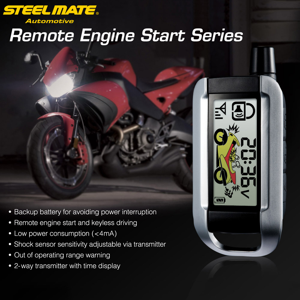 Steelmate 2 Way Motorcycle Alarm System Remote Control Engine Start Anti-theft Security Alarm System LCD Transmitter цена 2017