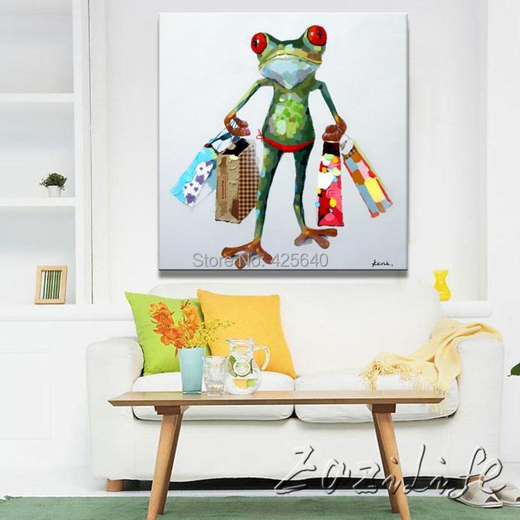 Aliexpress Lgemlde Auf Leinwand Wandbilder Gemlde Fr Wohnzimmer Wand Kunst Pop Art Frosch Modernes Abstraktes Hand Gemalten Farbe 3 Von