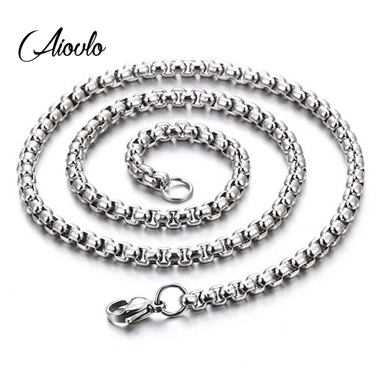 Stainless Steel Basic Chains Round Box Bead Ball Link Chain Necklace  Unisex Men Jewels  2mm/3mm/4mm/5mm Width Long Necklace