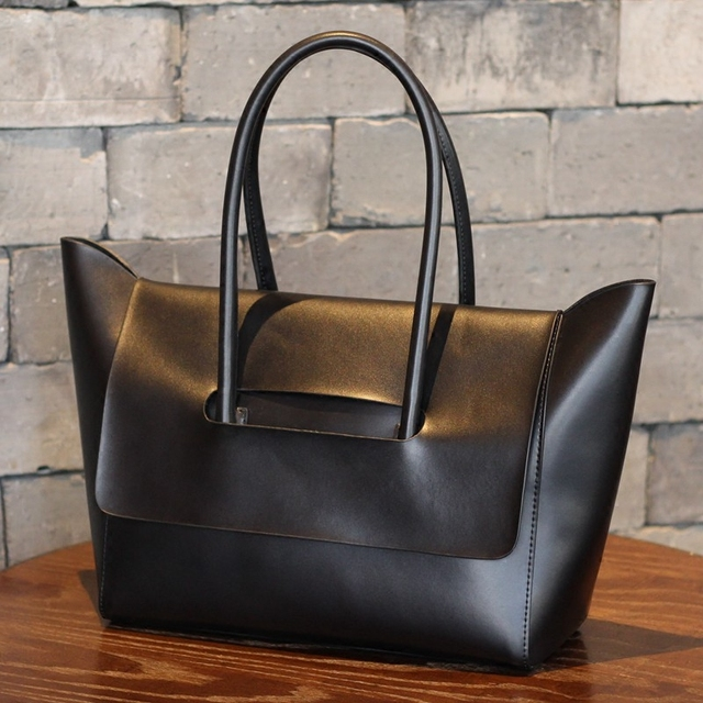 Genuine leather women's tote bag soft leather handle bags free shipping