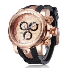 3D Большое Лицо Кварцевые часы 2016 Горячие Силиконовый Ремешок Спортивные Часы Мужчины Люксовый Бренд Военные Наручные Часы relogios masculino