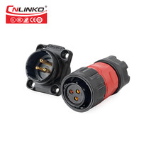 CNLINKO M20 2/3/4/9 pin Cable Electronic Wire to Board Pastic Panel Mount 12V DC/AC 5-20A Waterproof IP67 Connector 1/4 bayonet