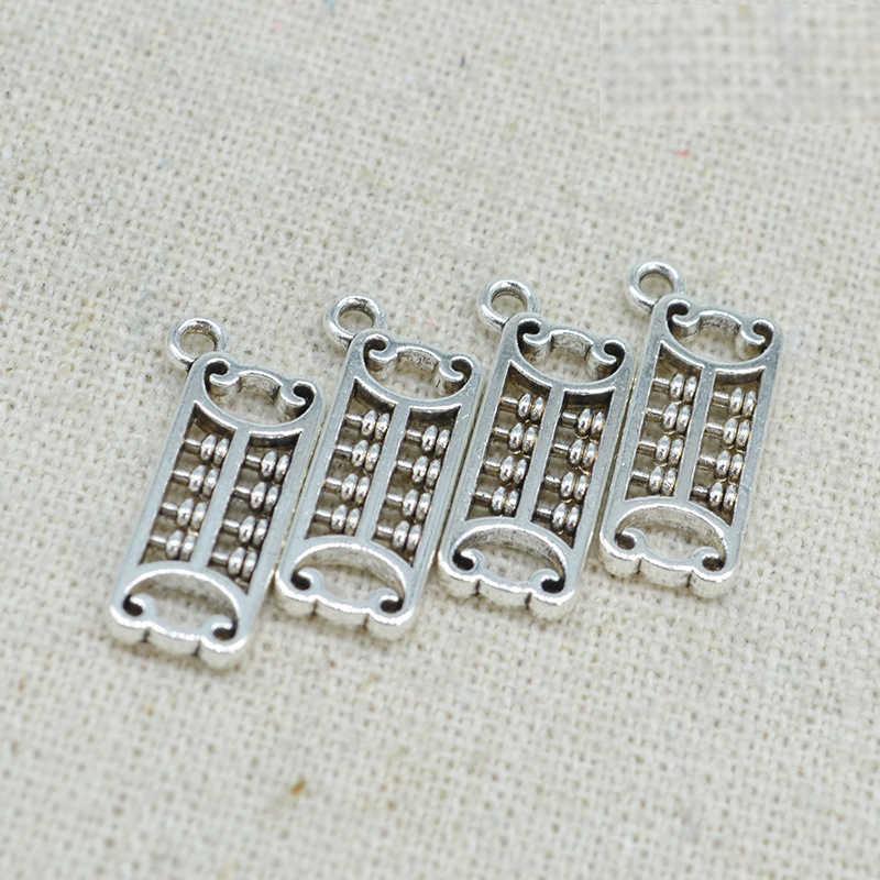 10 PCS 7*19 มม.สไตล์วินเทจโลหะสังกะสีอัลลอยด์โบราณ Silver Tone Abacus จี้ Charm สำหรับเครื่องประดับทำ