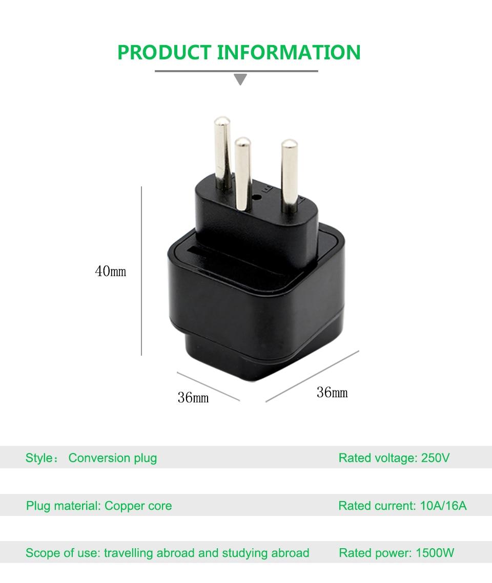 1PC Universal AC 250V 10A16A EU AU US UK to Switzerland Swiss AC Power Travel Plug 3 Round Pin Adaptor Wireless Conversion Plug (8)