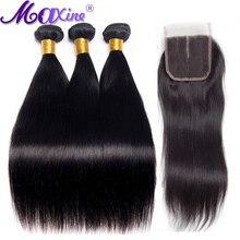 Brazilian Straight Hair Bundles With Closure 3 Bundle Maxine Hair Non Remy 4 Pcs Human Hair Bundles with Closure Middle Part