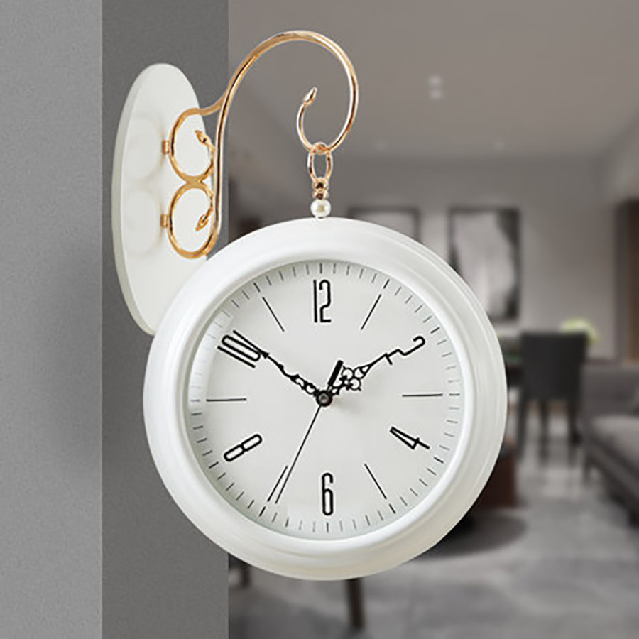 European Double Sided Wall Clock Modern Design Vintage 3D Guess Women Retro Mechanism Silent Relogio Parede Watches Decor WZH050European Double Sided Wall Clock Modern Design Vintage 3D Guess Women Retro Mechanism Silent Relogio Parede Watches Decor WZH050