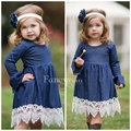 EMS DHL Free Shipping Girls Kids Baby Girls Dresses Denim Lace Long Sleeve Dress Children Clothing ins hot design Casual