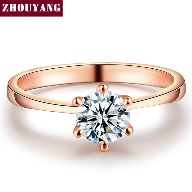ZHOUYANG Wedding Ring For Women Rose Gold Color Six Claw Cubic Zirconia Round Cu