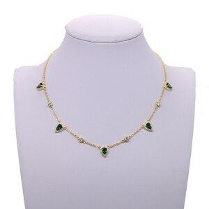 Image 3 - בוהמיה 2018 זהב צבע ירוק אבן שרשרת הצהרת שרשרת קולר תכשיטים לנשים אלגנטיות מתנה אופנתי תכשיטים