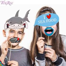 FENGRISE Shark Party Photo Booth Props Birthday Babyshower Photobooth Background Supplies
