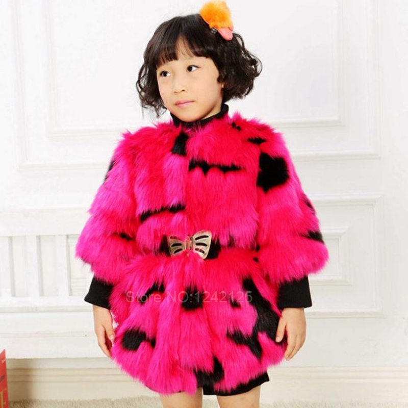 New autumn winter children girl cute warm faux Fox coat raccoon rabbit faux fur coat jacket clothing outerwear coats overcoat faux rabbit fur brown mr short jacket sleeveless with big raccoon collar fall coat