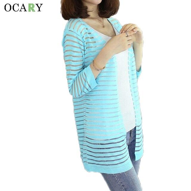 Мода женщины полосатый пляж кардиган весна лето с свитера 2016 крючком дамы топы свободного покроя трикотажные Большой размер Rebecas Mujer