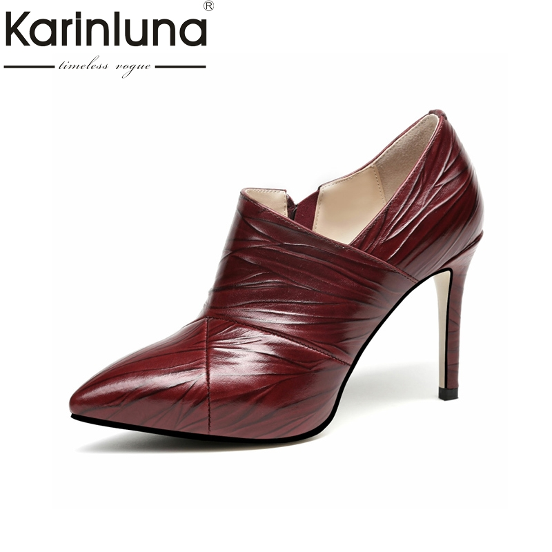 KarinLuna 2018 Spring Autumn Brand Genuine Leather Deep Pumps Zip Pleated Pointed Toe Shoes Woman Leather Insole High Heels