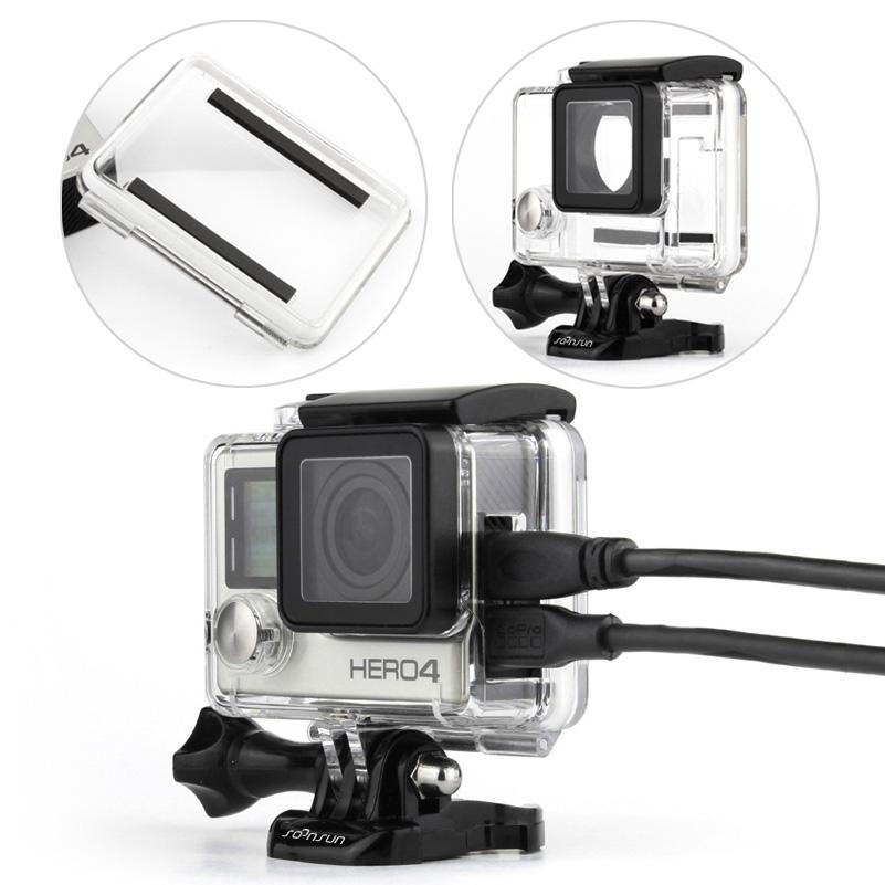 Prix pour SOONSUN GoPro Hero 4 Squelette Logement Cas Côté Ouvert Housse De Protection avec Standard Étanche Backdoor pour GoPro Hero 4 Caméra