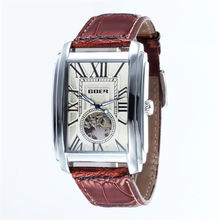 Relogio Masculino  Top Brand Luxury Skeleton Watches Men Leather Band Rectangle Automatic Mechanical Wrist Watches For Men  GOER hot 2016 nary luxury brand business men s automatic skeleton mechanical military wrist watchmen full leather band reloj