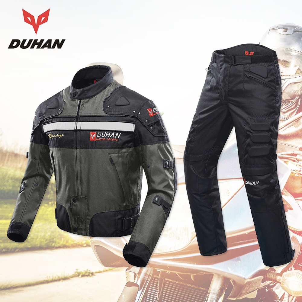 DUHAN Motorcycle Jacket + Riding Pants Windproof Racing Jacket Body Armor Motocross Motorcycle Protection Protective Gear duhan professional motocross racing full body armor spine chest protective jacket gear motorcycle riding body protection guards