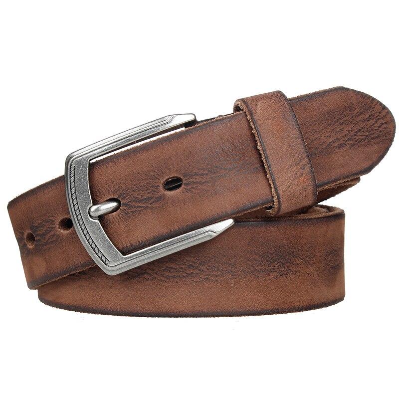 Image 4 - MEDYLA Cowhide Men's Pin Buckle Belt Vintage Luxury Men's Jeans Belt Full Grain Leather Belts Ceinture Cintos Waist Girdle-in Men's Belts from Apparel Accessories