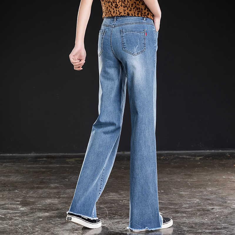 En iyi S-6XL Kot Kadınlar Yüksek Bel Uzun Düz Pantolon Rahat Gevşek Bıyık Etkisi Denim Mavi Siyah Geniş Bacak Pantolon Kadın
