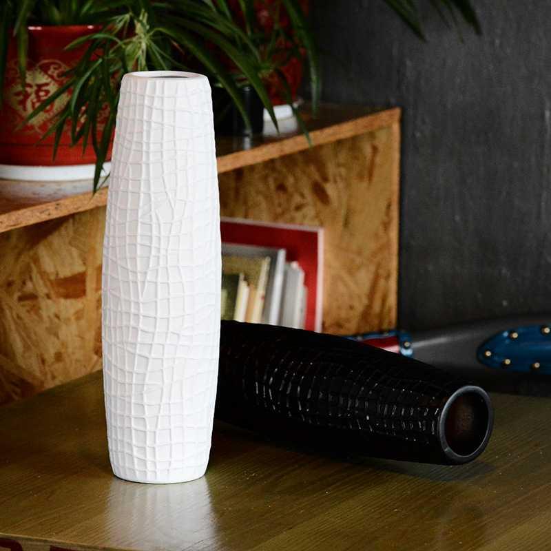 Creativo diseño de cocodrilo de jarrones de cerámica Simple negro blanco vaso decorativo alto cuerpo jarrón para decoración de la boda